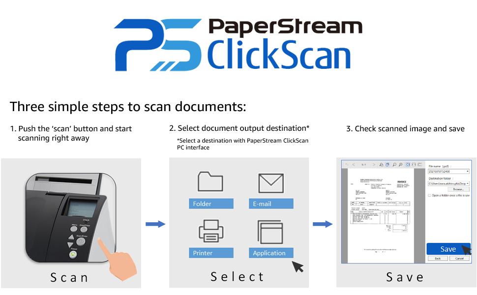 Fujitsu PaperStream ClickScan Software - easy as 1, 2, 3