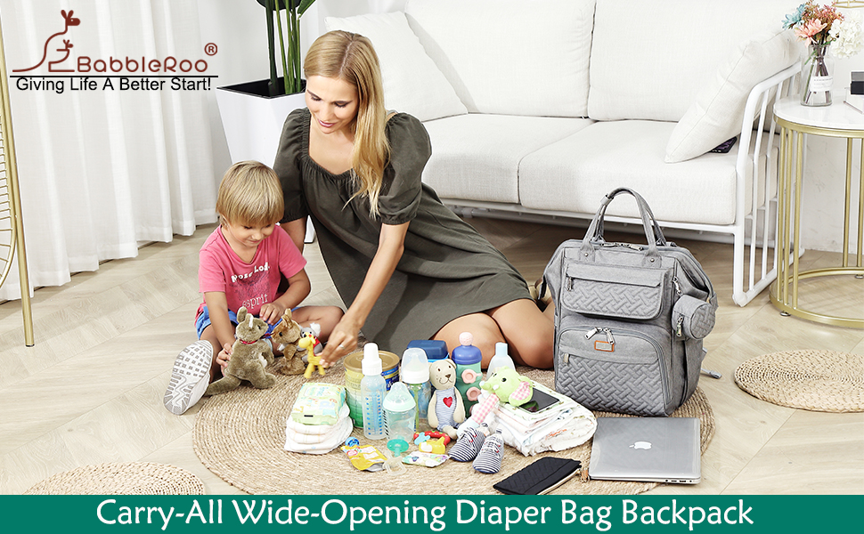 BabbleRoo wide-opening diaper bag backpack with changing pad, pacifier case, stroller hooks