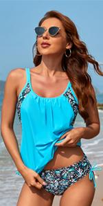 Yonique 2 piece double up tankini swimsuits for women
