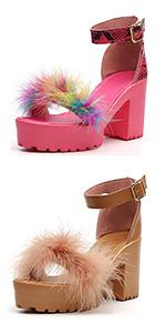 fur sandals for women chunky heel open toe