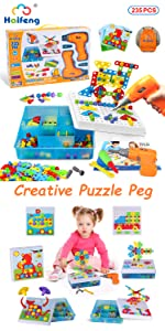 creative mosaic double drill toy set stem activities for kids ages 3-5