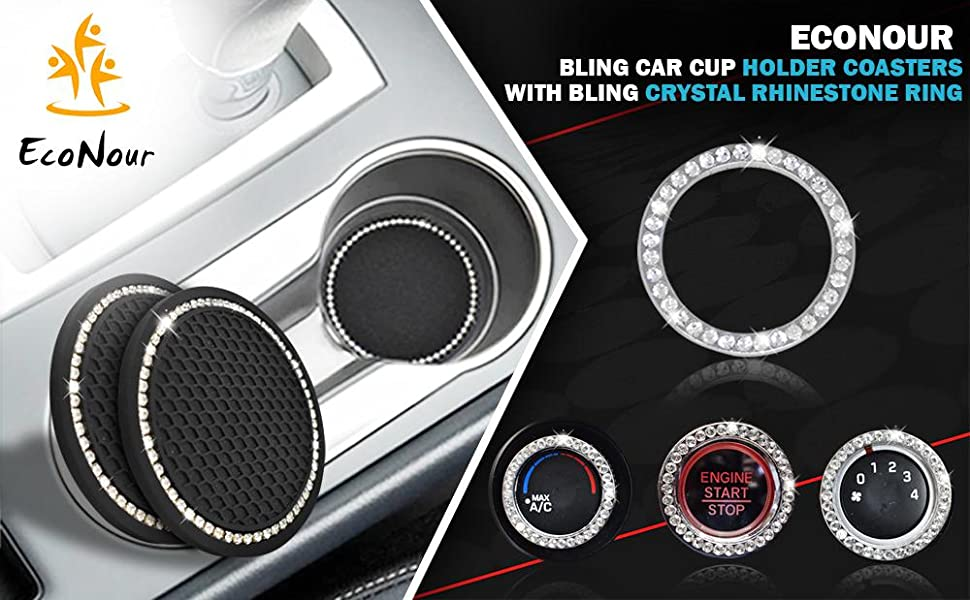 Car Cup Holder Coasters with Bling Crystal Rhinestone Ring