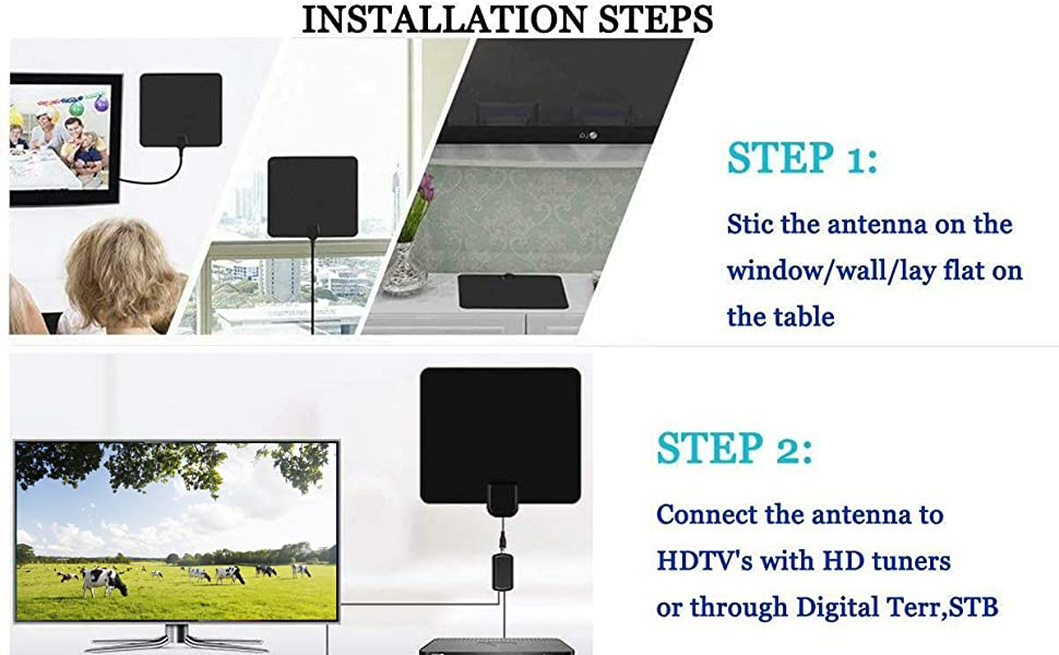Stic it on the window/wanthe table and Connect to HDTV's with HD tunersor through Digital Terr,STB
