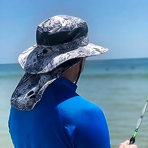 Boonie Hat with Neck Shield Silver Mist