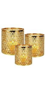 Gold Diamond Pattern Candle Holder