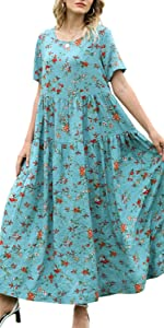 Women Casual Loose Short Sleeve Bohemian Swing Dress