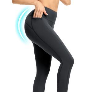 Blickdicht Sportleggins Lange Sport Leggings Sporthose Yogahosen mit Taschen