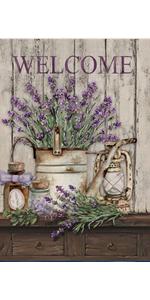 Hzppyz Welcome Seasonal Vintage Lavender Flower Bucket Garden Flag