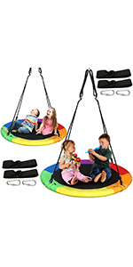 40 inches Tree Swing rainbow color, 2 Pack