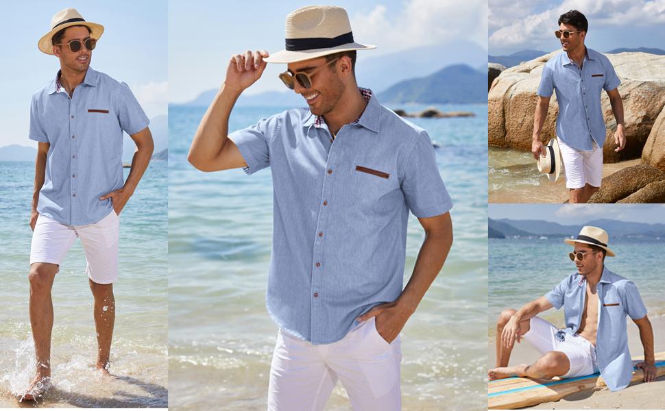 COOFANDY Mens Button up Shirt Short Sleeve Business Casual Fashion Denim Shirts