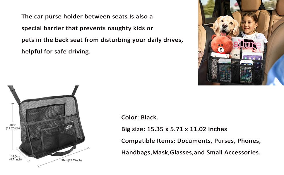 Car Net Bag Barrier of Back Seat Pet Kids Helps To Safe Driving