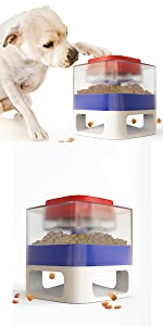 Dog food dispenser toy with button