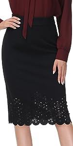 High Waist Cutout Scallop Hem Pencil Skirt Wear to Work Office Hip Wrap Midi Skirt