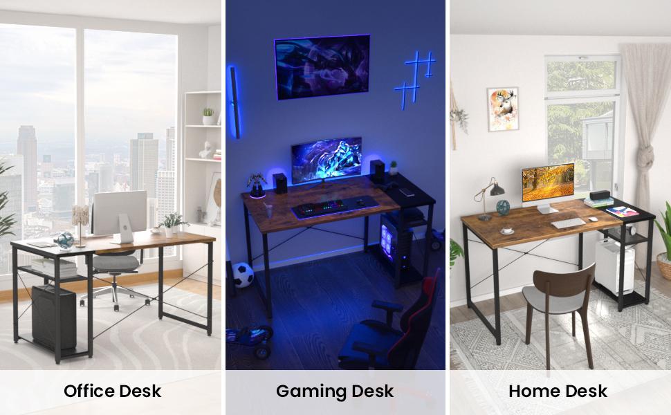 desk office desk computer desk with shelves  Home office desk with storage writing desk