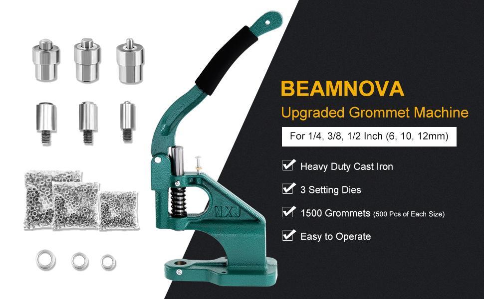 green grommet machine with silver grommet
