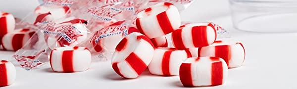 individually wrapped peppermint puff candy red and white stacked mints candy dish red bird made usa