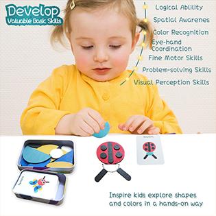 Wooden Pattern Blocks Tangram Shape Puzzle Set Animals Jigsaw Color Sorting Stacking Games Preschool