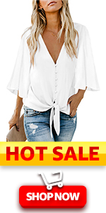 summer casual tops and blouses women tops button down blouses womens 3/4 sleeve tops for summer