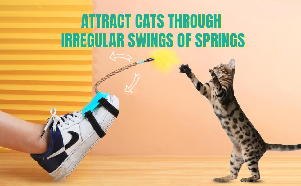 cat stick toy with feather