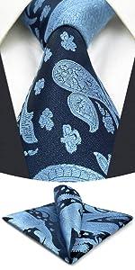 Ties for Men Blue Steel Navy Paisley