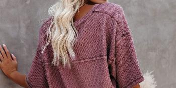 Knit Short Sleeve Work Blouse Shirt