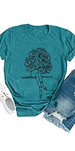 Women Flower Leg Graphic Shirt Funny Floral Print T Shirt Summer Short Sleeve Casual Tee Top