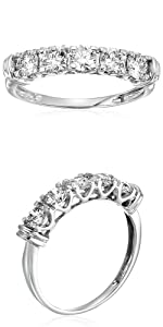 Vir Jewels 1 cttw Certified SI2-I1 5 Stone Diamond Ring 14K White Gold Engagement I-J Round