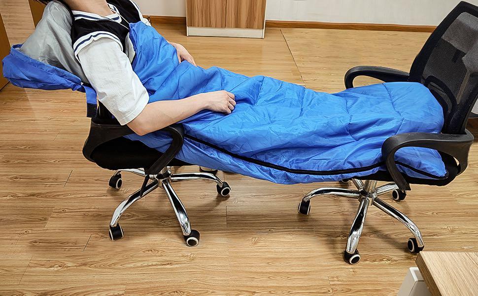 sleeping bag at office