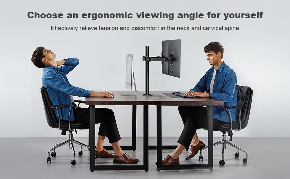 ergonomic dual monitor stand for 2 monitors