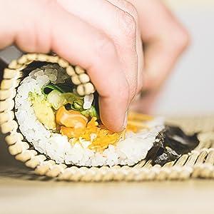 sushi kimbap fish roll roller rolling making