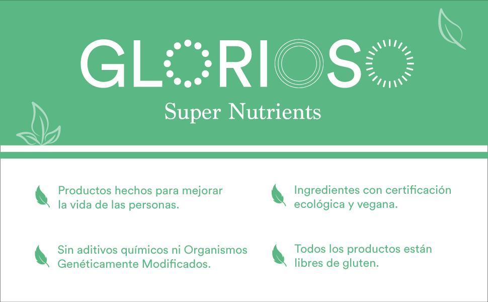 Glorioso Super Nutrients Vegan Protein Vainilla Bio 400 gramos. Proteína vegana en polvo. Aumenta y mantiene la masa muscular. Sin gluten ni lactosa