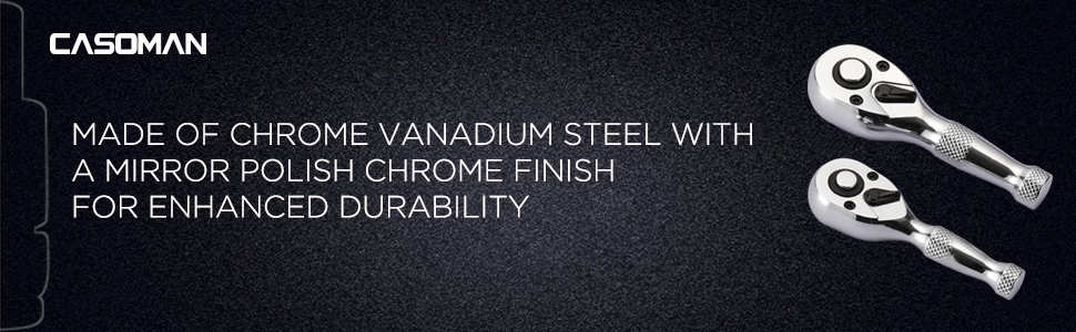 Made of chrome vanadium steel with a mirror polish chrome finish for enhanced durability