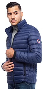 rokka and rolla blue mens packable puffer down jacket winter coat