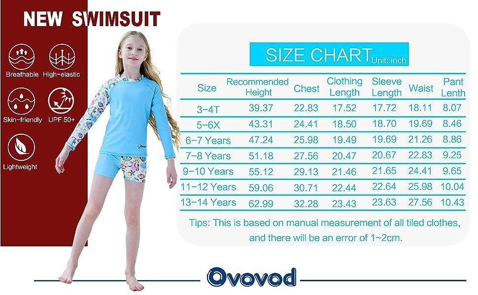 Girl bathing suit size chart
