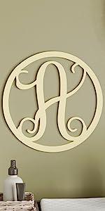 19 Inch Vine Circle Monogram