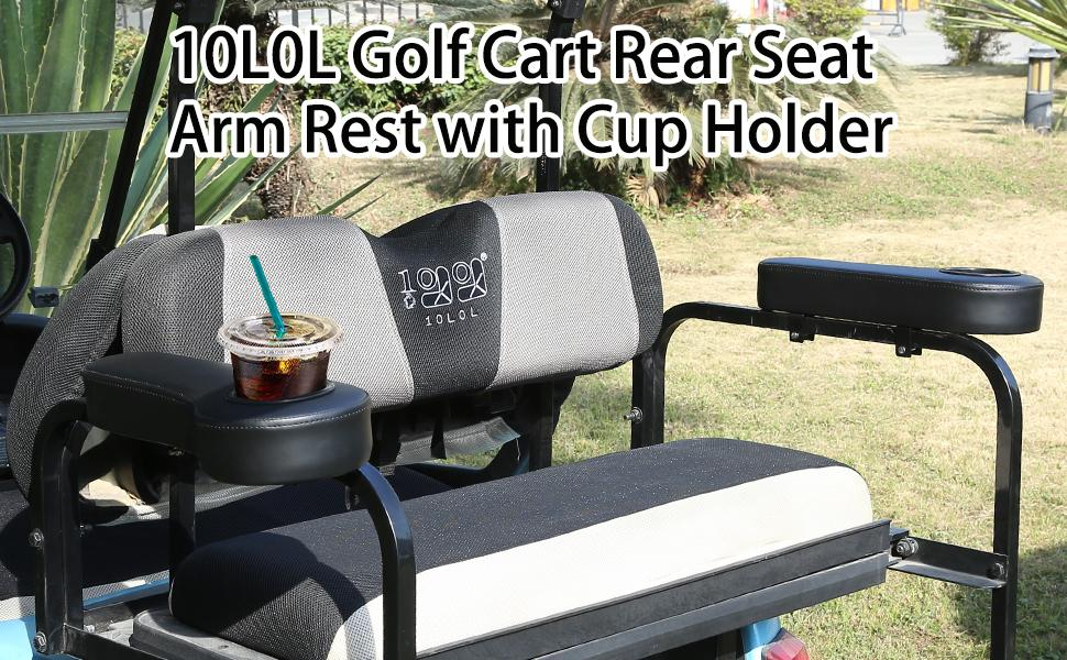 10L0L Golf Cart Rear Seat Arm Rest with Cup Holder