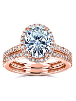 Kobelli Oval Moissanite Halo Bridal Rings Set 2 3/8 CTW 14k Rose Gold