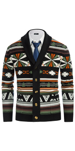 mens vintage contrast fair isle cardigan shawl collar color block sweater with buttons and pockets