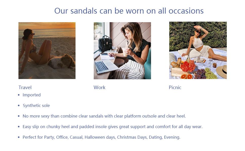 women sexy fashion clear high heel sandals