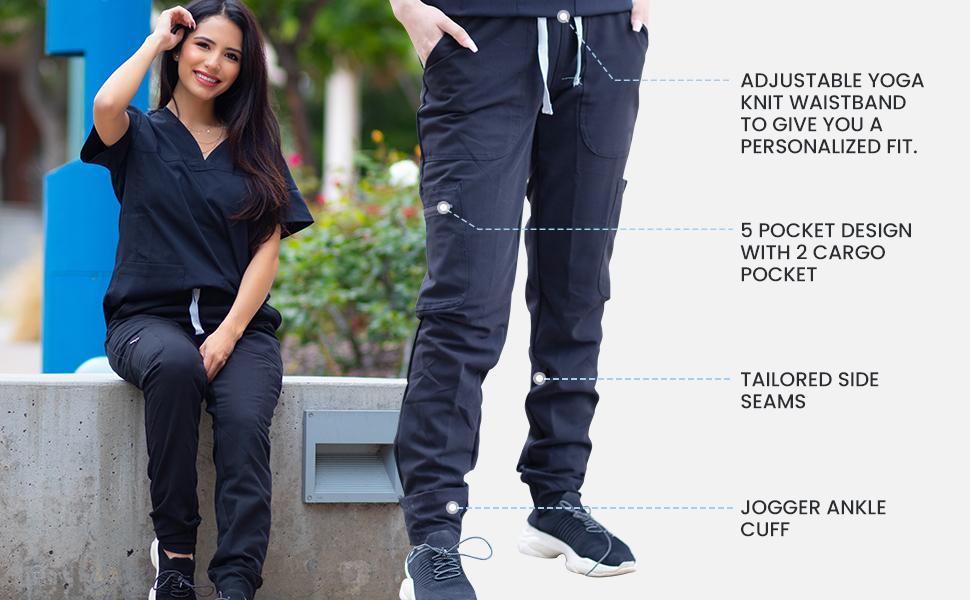 Pantalón Médico Jogger para Mujer - Uniforme Médico de Yoga para Mujer