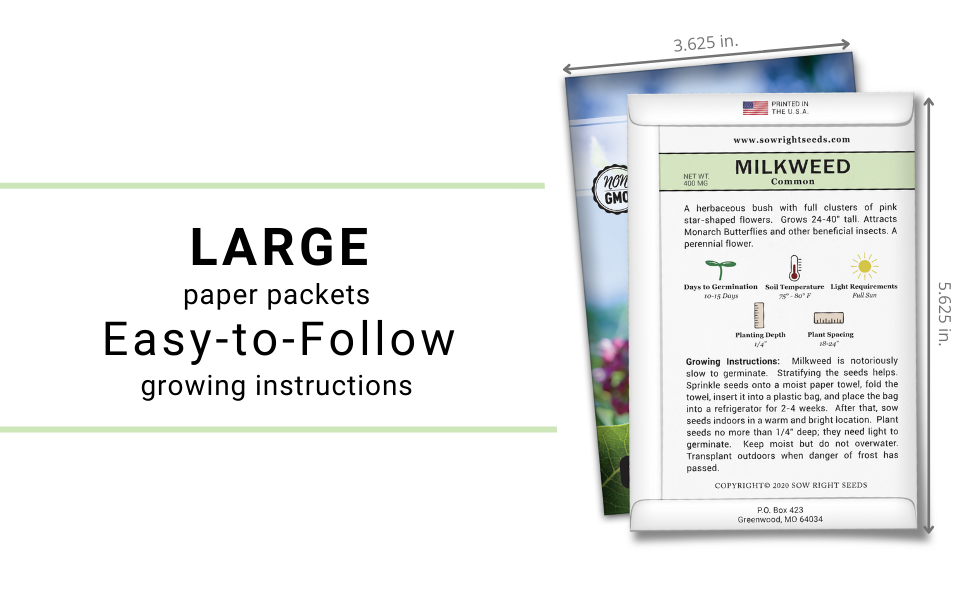 large paper packets with easy-to-follow growing instructions