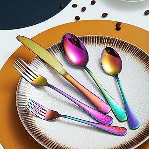 Rainbow silverware set