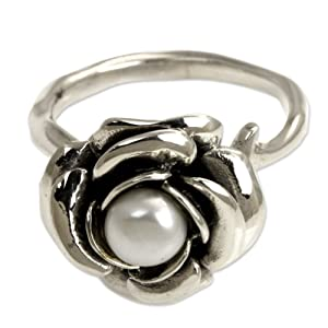NOVICA ,Pearl ,Sterling Silver,Handcrafted,Flower,Ring,Handmade,Rose,White, ewelry, For Women, Gift