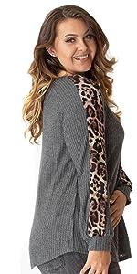 Animal Print Sleeve Waffle Knit Top