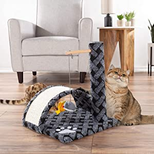 Cat Scratching Post- Adult Cat amp; Kitten Tree with Carpeted Base amp; Pole