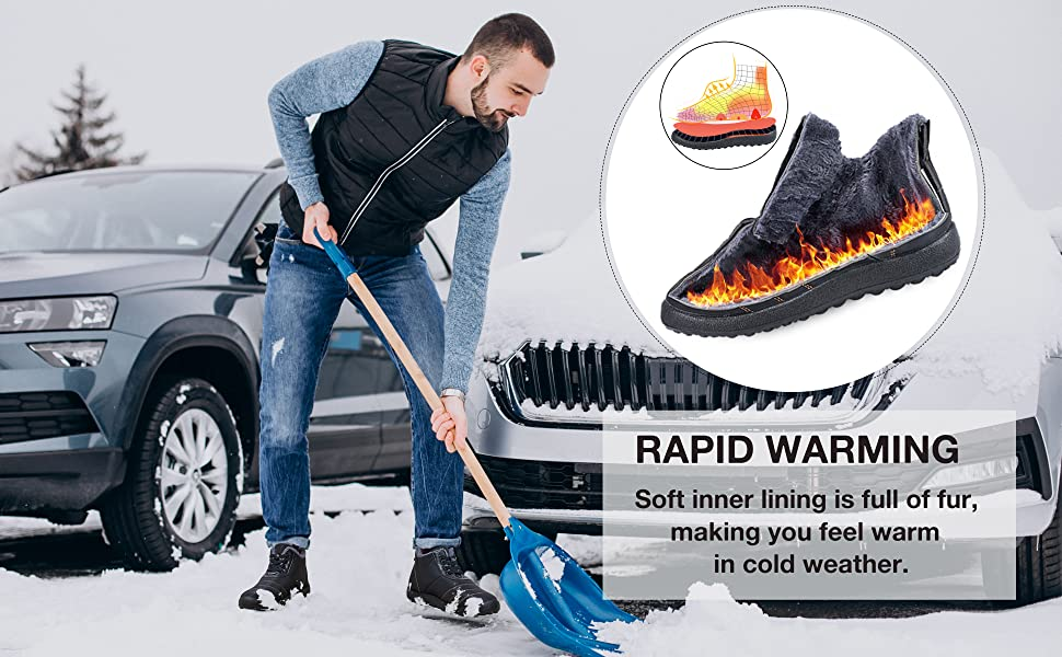 Mens Winter Snow Boots with Warm Fur Lined Ankle Booties Non Slip Outdoor Boot Hiking Walking Shoes