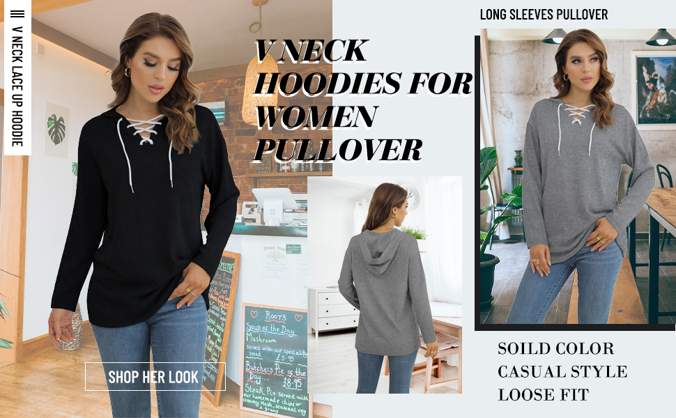 Women Pullover Hoodies Casual  Lightweight Sweatshirts Drawstring Tops