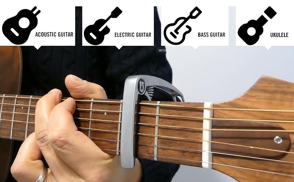 Capodastre compatible guitare acoustique, électrique, classique, basse et ukulélé