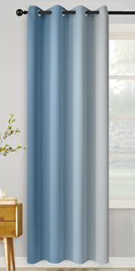 Grommet Greyish White and Light Blue Ombre Room Darkening Ombre Curtains