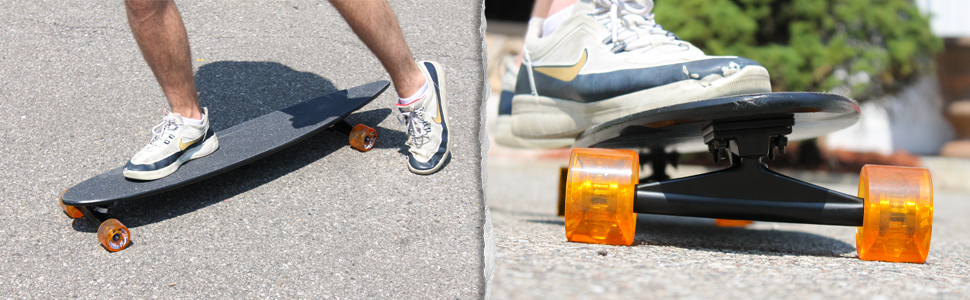 Riding a longboard with core trucks on it